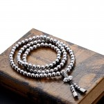 Self Defense 108 Buddha Beads Necklace Chain - Full Stainless Steel Beads
