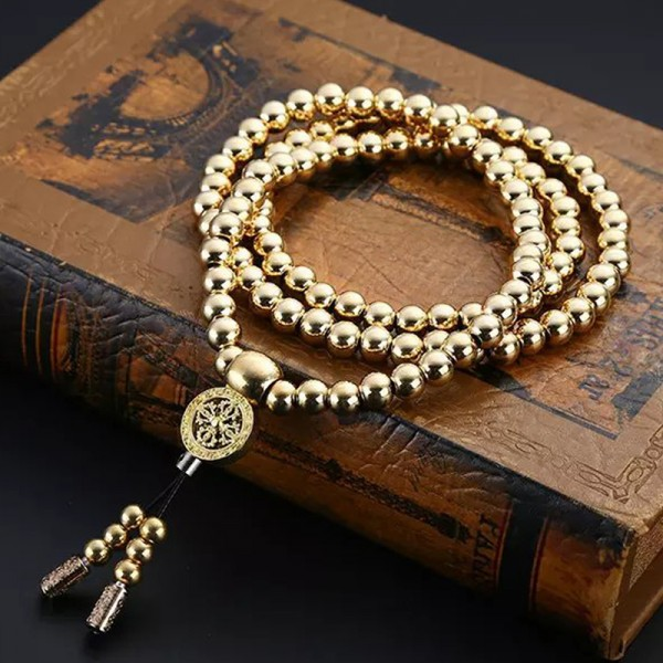 Outdoor Self Defense Necklace 108 Buddha Beads Chain - Full Brass Prayer Beads