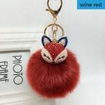 Fox Fur Ball Pom Pom Keychain