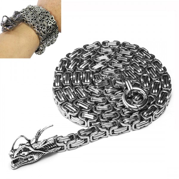 Outdoor Stainless Steel Self Defense Necklace Dragon Hand Bracelet Chain Weapon, Corrosion Resistance Tactical Metallic Whip