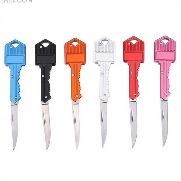 6 Pack Folding Pocket Key Knife Keychian Tool - Random Color
