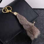 Fluffy Fox Fur Tail with Artificial Pearl Rhinestone Keychain
