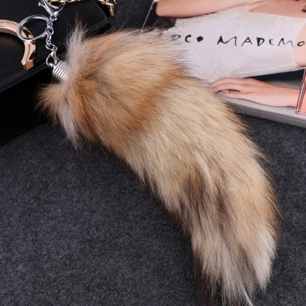 Large Size Fox Tail Keychain Fluffy Fox Fur Lady Pendant