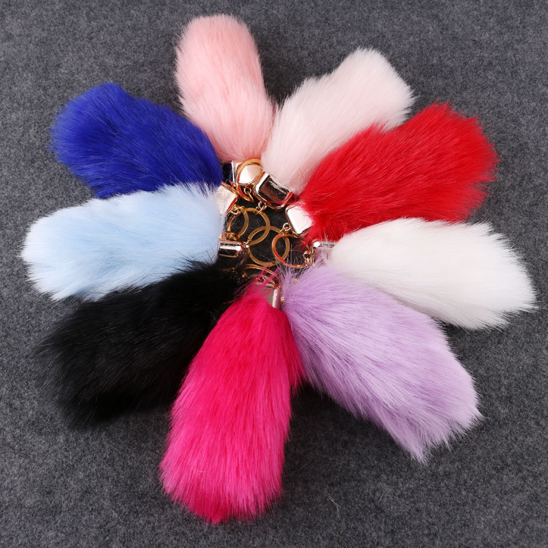 Durable Mid Size Fox Tail Keychain Fluffy Fur Lady Womens Bag Charms ... 2a1e2056f6