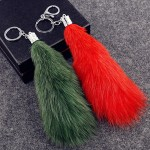 Foxtail Keychain with Artificial Pearl Rhinestone Lady Bag Charms
