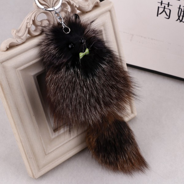 25cm Large size Cartoon Goldfish Keychain Fox Fur Lady Bag Charms