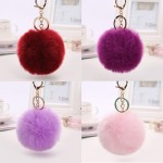 Pom Poms Keyrings Artificial Rabbit Fur  Puff Ball Keychain