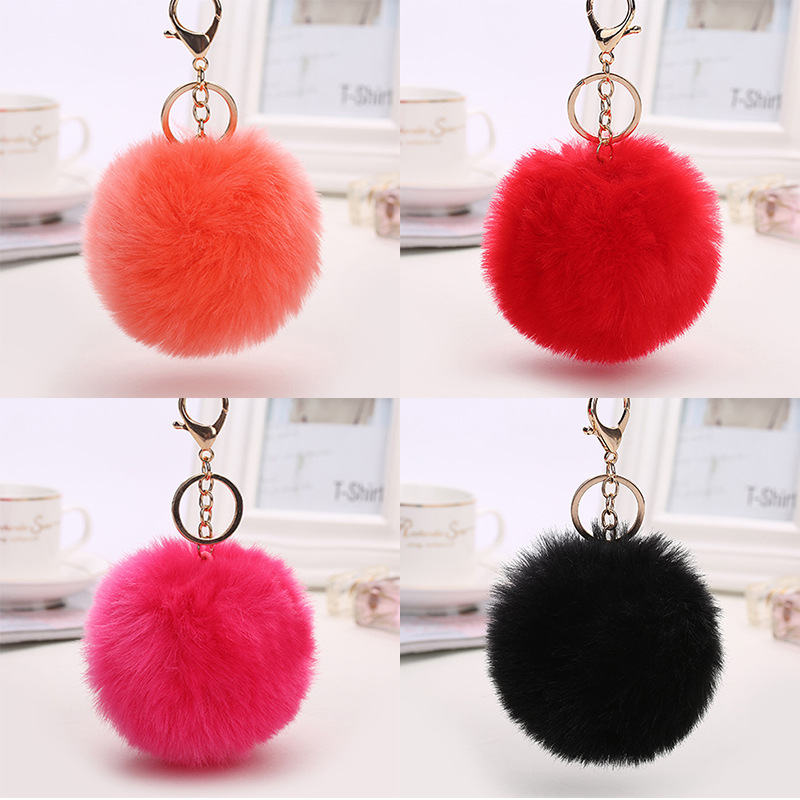 Pom Poms Keyrings Artificial Rabbit Fur Ball - Puff Ball Keychain Charm Key  Chain for Car f2e1782b0