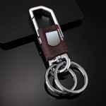 Leather Car Keychain with  2 Key Rings