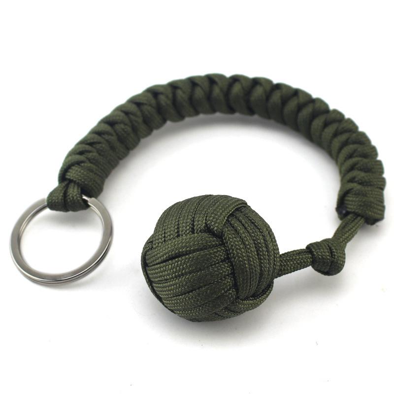Monkey fist adamantine rope self defense keychain for Survival rope keychain