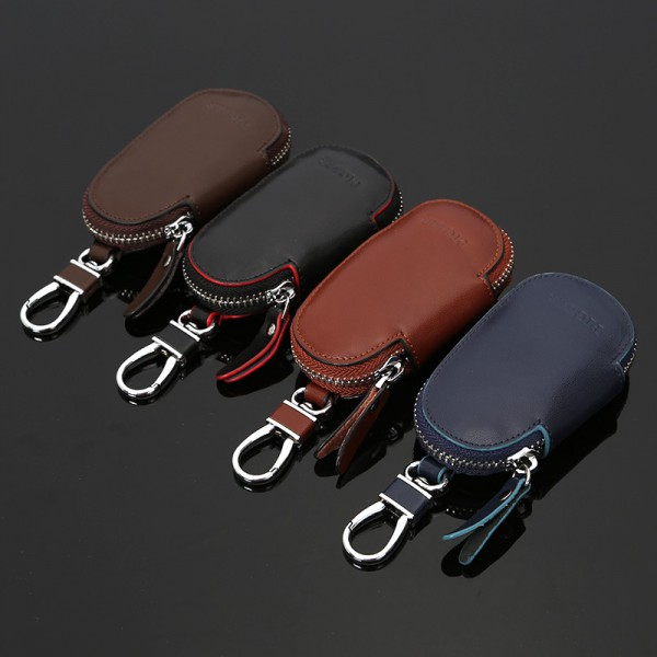 Circular Leather Keychain Holder Wallet Zipper Bag Car Key Cases