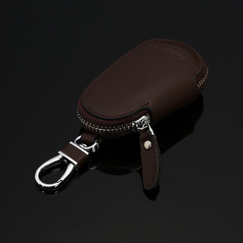 Circular Zipper Leather Keychain Holder Wallet Bag Key Fob