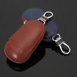 Circular Leather Keychain Holder Wallet Zipper Bag Car Key Cases