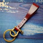 Handmade Horseshoe Buckle Keychain with Keyring Leather Key Ring Holder