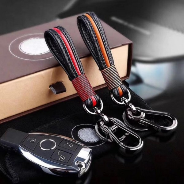 Handmade Leather Car Keychain Home Key Rings Waist Hanging for Men and Women