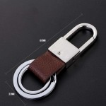 Premium Car Leather Keychain Steel Buckle