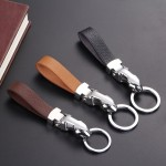 Leather Strap Key Chain Holder with Detachable Keyring