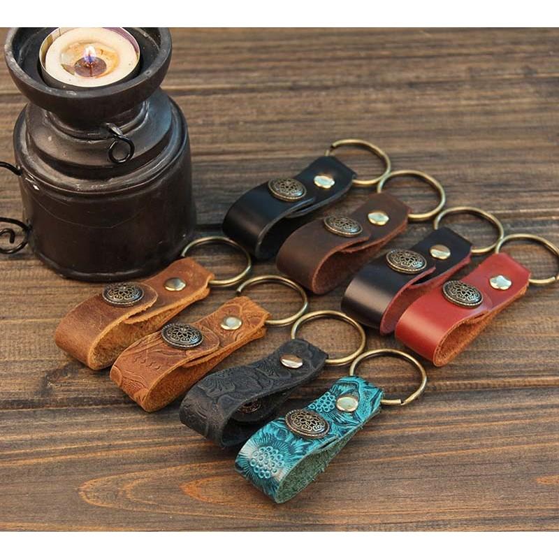 Leather Key Strap Retro Leather Key Ring Holder Handmade Car Key ... 056c99ccb007