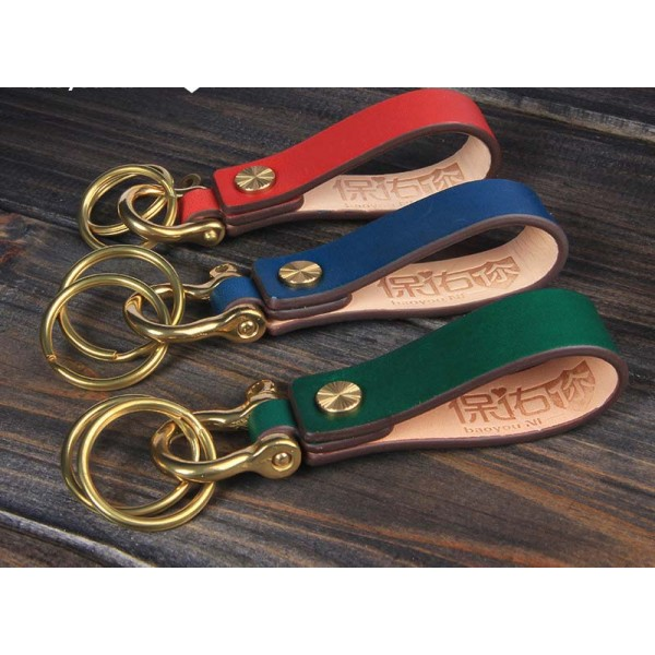 Handmade Leather Keychain Antique Brass Key Ring Classic Timeless Key Chain Gift