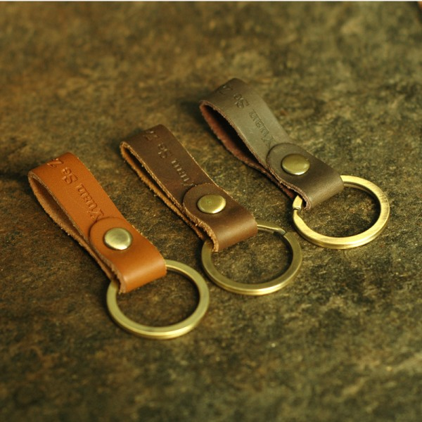 Retro Vegetable-Tanned Leather Key Fob Short Leather Loop Keychain
