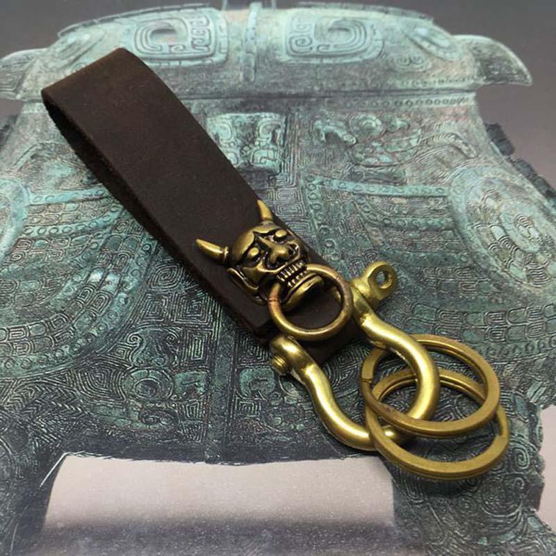 Creative Handmade Leather Key Chain Brass Key Ring Horn
