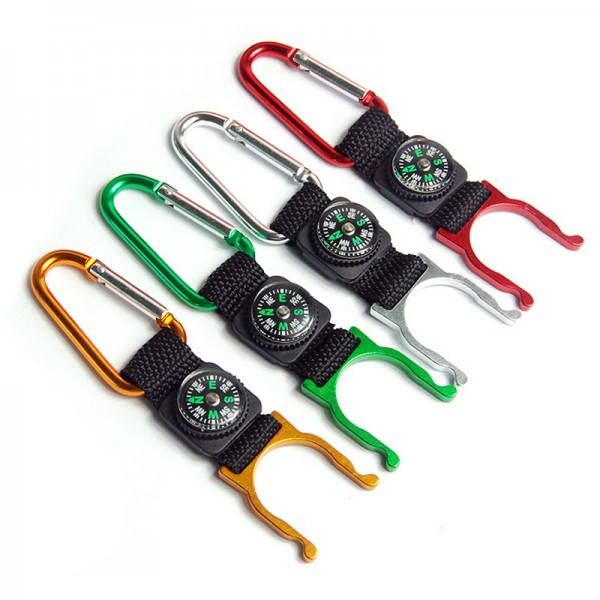 Pocket compass keychain with strap
