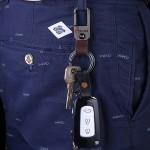 Premium Car Leather Keychain Steel Buckle